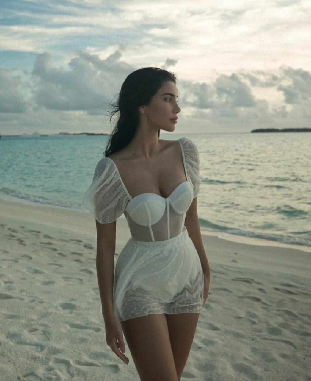 beach, bustier, and dress image