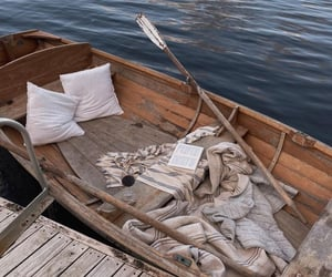 cozy, lake, and boat image