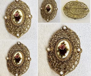 Filigree look oval brooch with flower picture