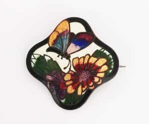 Art Nouveau Butterfly Pin Vintage Early 1900s 1920s Flower image 0