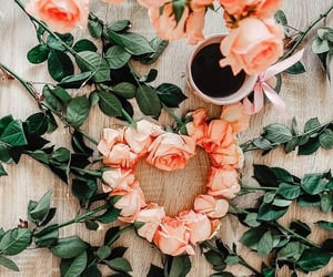 coffee, heart, and roses image