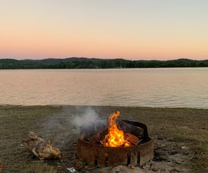 calm, fire, and camping image