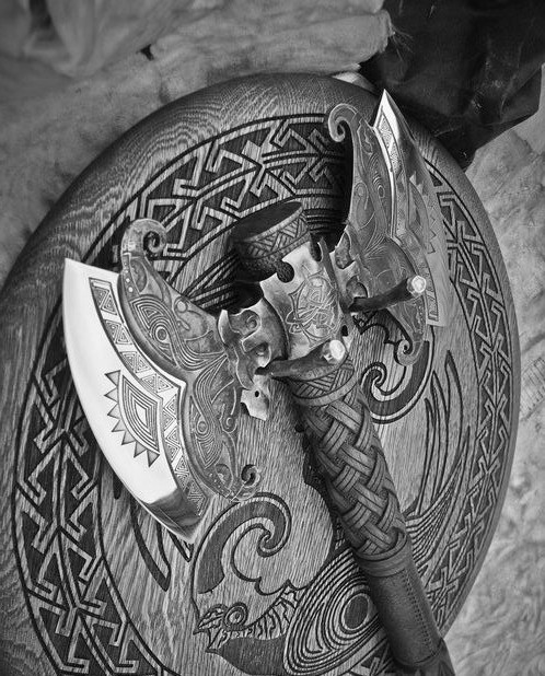 axe, black and withe, and fighter image