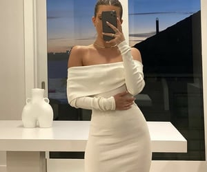 long sleeve, white dress, and off shoulder image