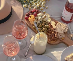 food, picnic, and wine image