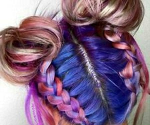 colorfulhair, braids, and coachella image