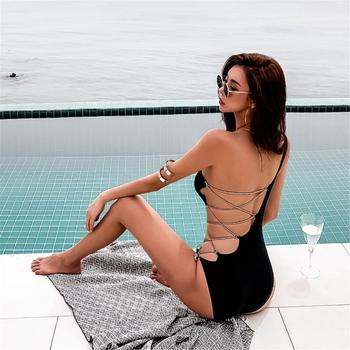 Black One Shoulder Bandage Swimsuit – women apparel, Women's swimwear, men's shirts and tops, Women jumpsuits and rompers, women spring fashion