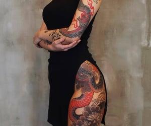 tattoo, dragon, and girl image