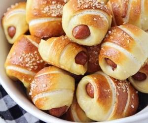 food, hot dog, and pretzel image