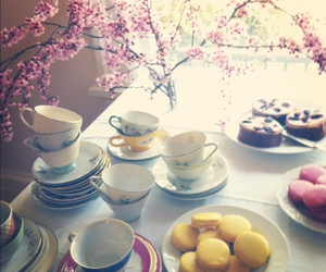 cherry blossom, macaroons, and tea image