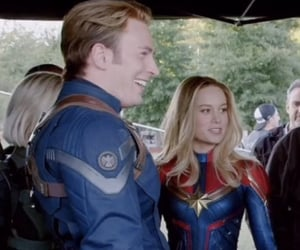 Scarlett Johansson, chris evans, and brie larson image