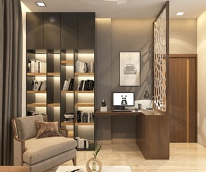 home office, interior design, and office interior image