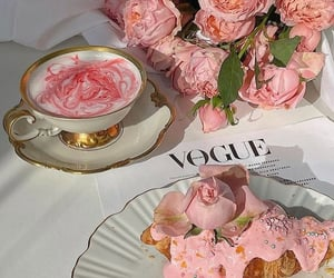 flowers, croissant, and drink image