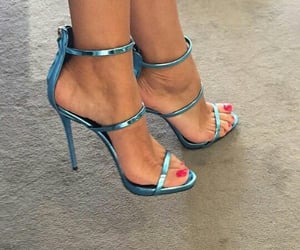 blue, glitter, and heels image