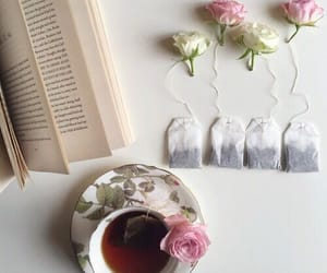 flowers, tea, and book image