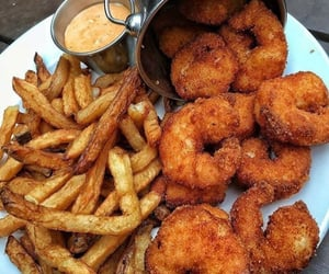 food, shrimp, and fries image