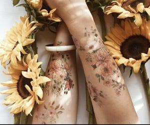 art, body, and sunflowers image