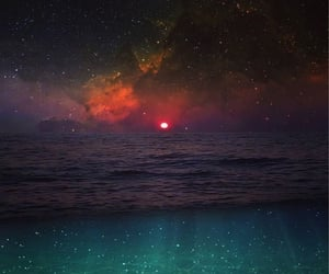 galaxy, stars, and ocean image