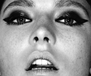 model, black and white, and make up image