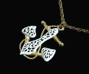 JJ Jonette Anchor Pendant Necklace Gold Tone With White image 0