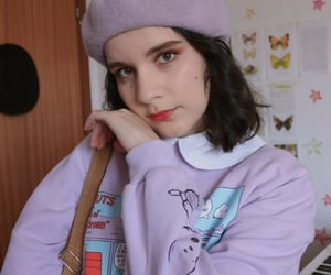 red lips, soft girl, and beret image
