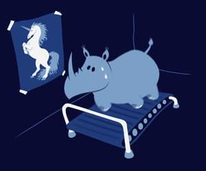 funny, gif, and rhino image