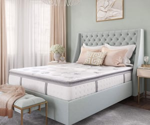 furniture, mattress, and bed image