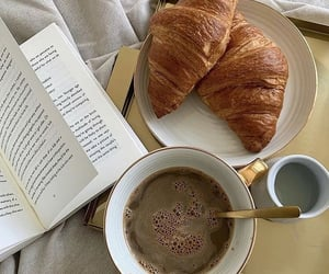 book, croissant, and food image