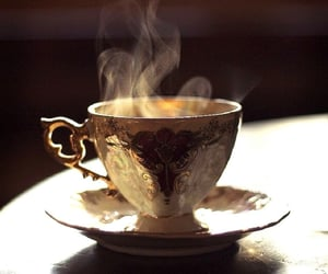 tea, gold, and cup image