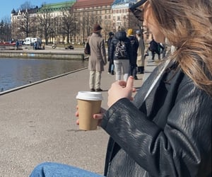 brunette, city, and coffee image