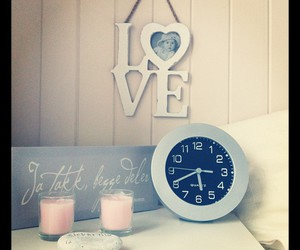 bedroom, candles, and clock image