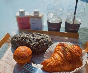 bakery, croissant, and iced coffee image