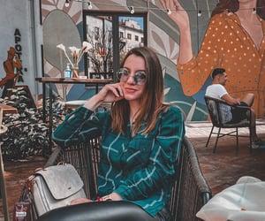 cafe, girl, and outside image