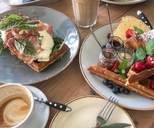 breakfast, cake, and cherries image