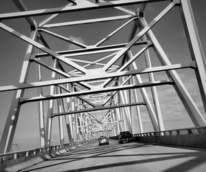 black and white, bridge, and contrast image