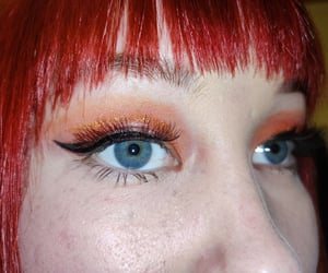 blue eyes, glitter, and red hair image