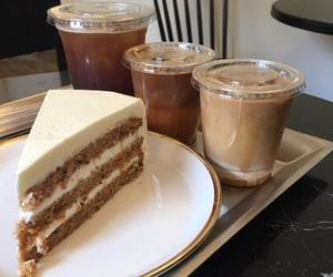 cake, coffee shop, and coffee image