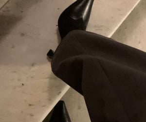 stairs, flair pants, and boots image