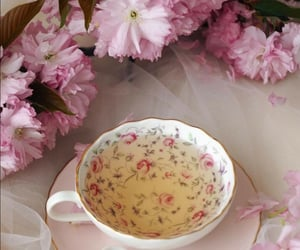cup of tea, flowers, and pink image