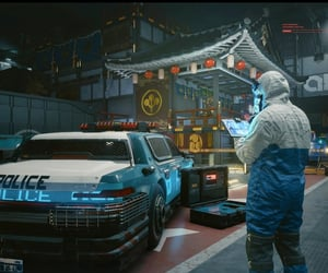 blue, cyberpunk, and crime scene image