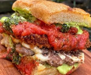 delicious, hamburger, and food image