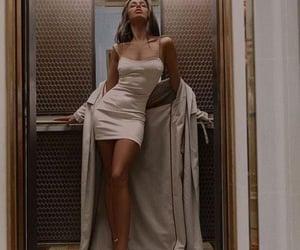 beige, dress, and lift image