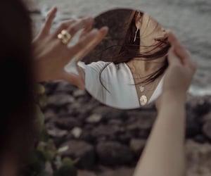 girl, sea, and mirror image