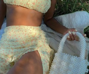floral print, yellow skirt, and everyday look image