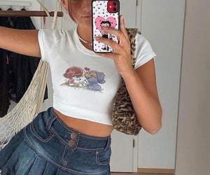 summer, graphic shirt, and white crop top image