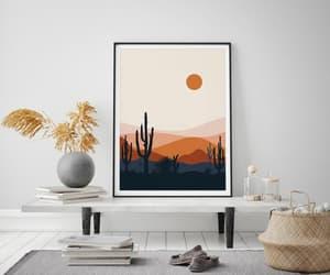 burnt orange, printable wall art, and cactus print image