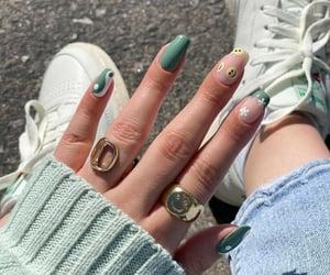 fashion, nailart, and green image