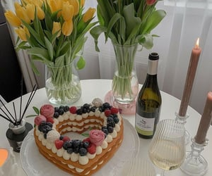 cake, roses, and tulipan image
