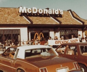 car, McDonald's, and vintage image