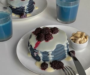 food, blue, and pancakes image